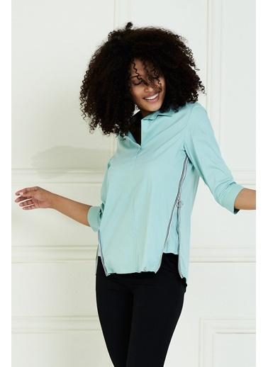 JEANNE D'ARC Pamuk Kumaş Yandan Fermuar Detaylı Bluz Yeşil